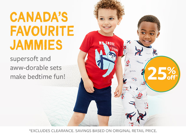 canada's favourite jammies | supersoft and aww-dorable sets make bedtime fun! 25% off