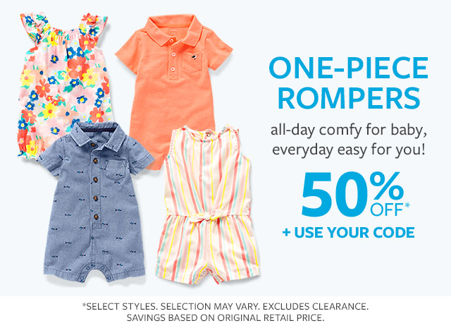 One-piece rompers | all-day comfy for baby, everyday easy for you! | 50% off + use your code