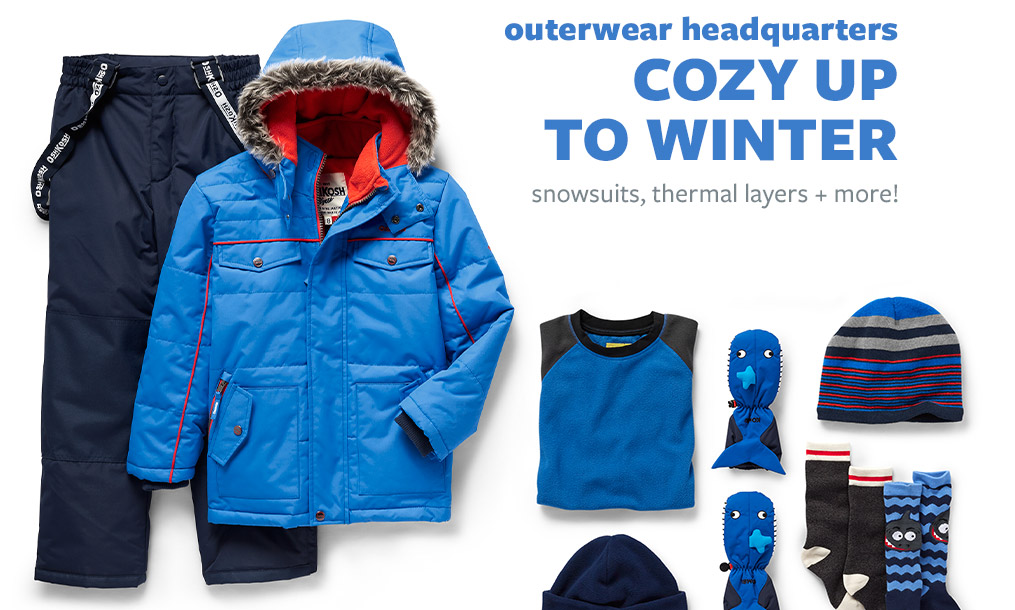 outerwear headquarters | COZY UP TO WINTER | snowsuits, thermal layers + more!