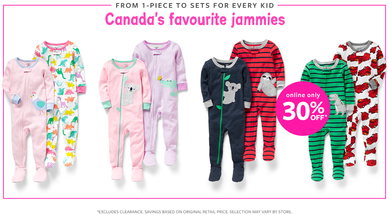 from 1-piece to sets for every kid canada's favorite jammies