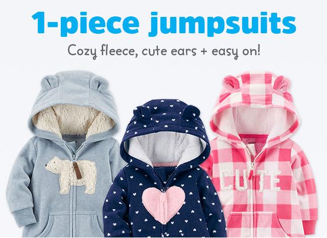 1-piece jumpsuits - Cozy fleece, cute ears + easy on!