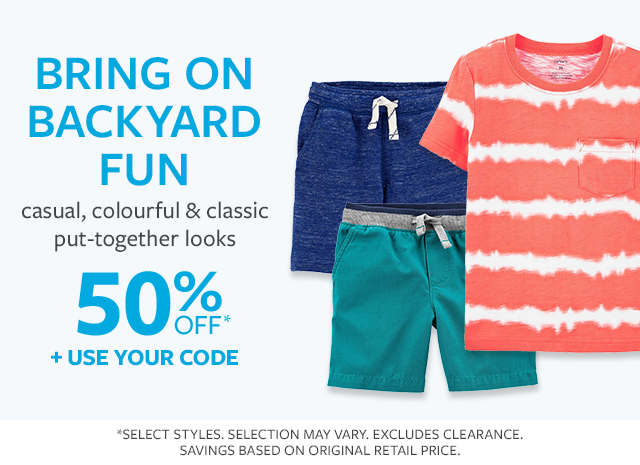 Bring on backyard fun | casual, colorful & classic put-together looks | 50% off + use your code
