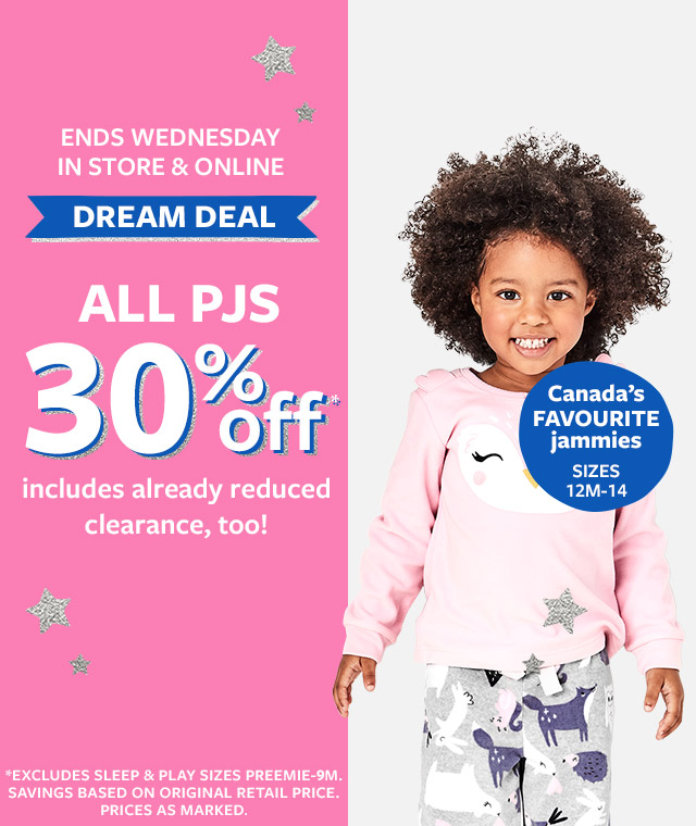 Ends Wednesday in store & online | Dream Deal all PJS 30% off | includes already reduced clearance, too!