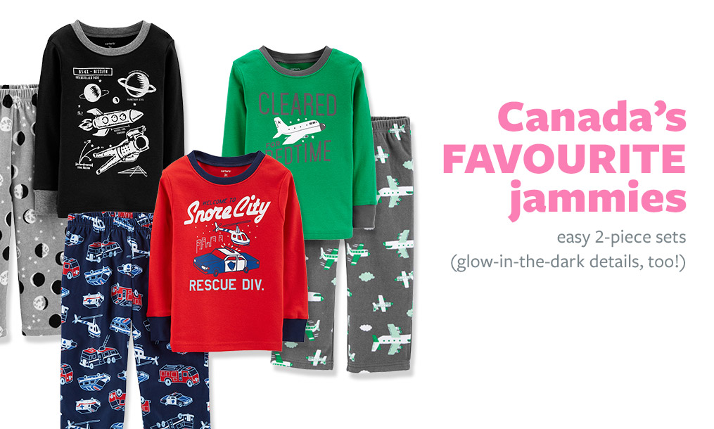 Canada's Favourite jammies   easy fleece 2-piece sets (glow-in-the-dark details, too!)