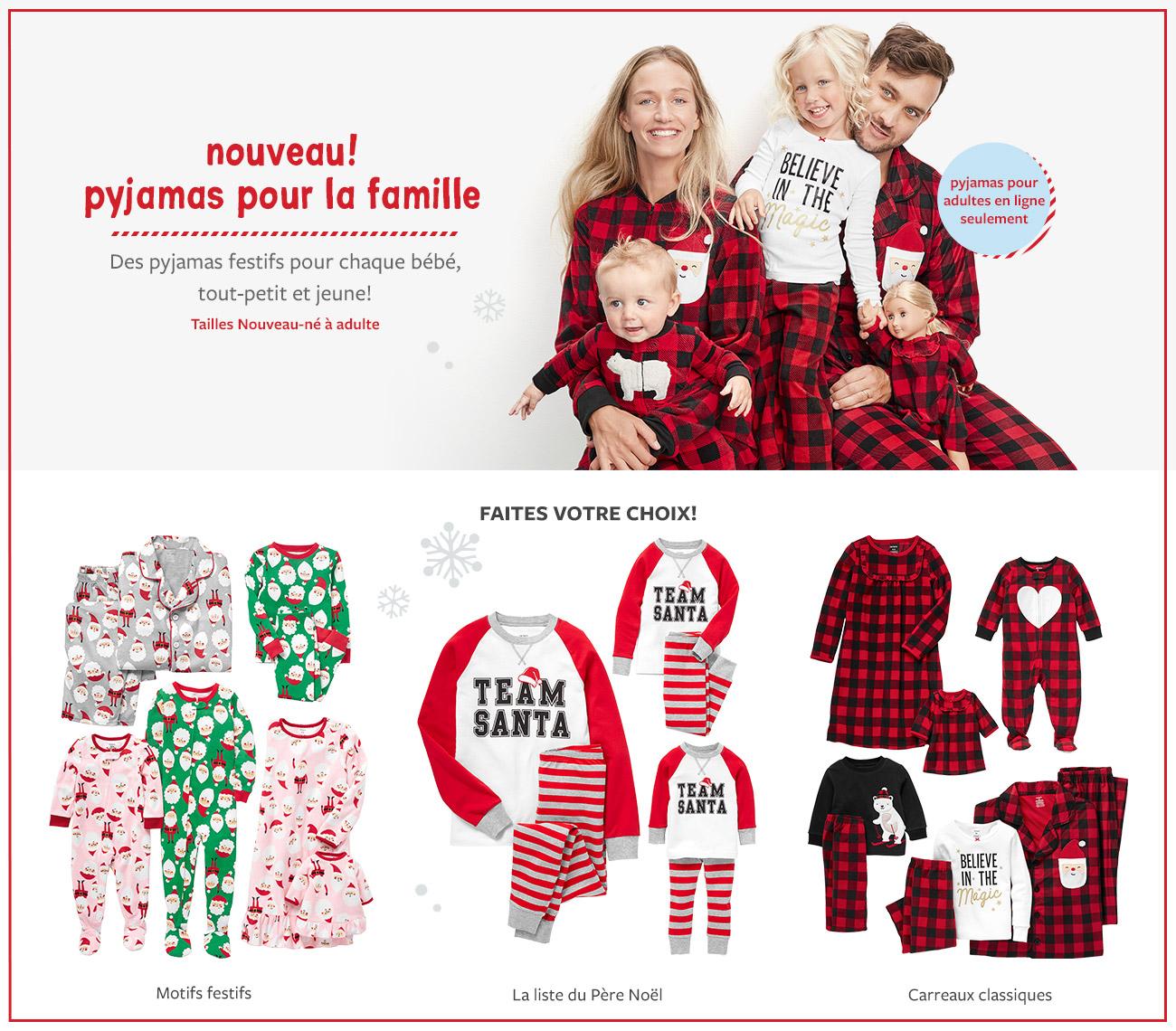 nouveau! pyjamas pour la famille |  des pyjamas festifs pour chaque bébé, tout-petit et jeune! | pyjamas pour adultes en ligne seulement | faites votre choix! | motifs festifs, la liste du père noël, carreaux classiques