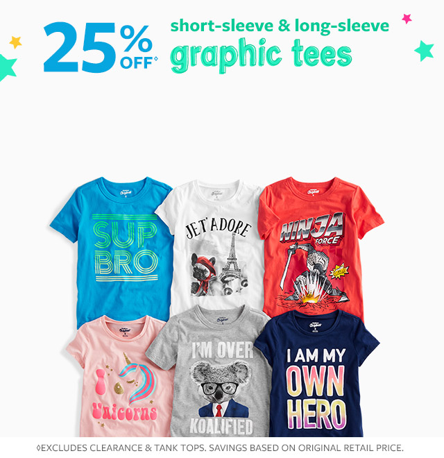25% off short-sleeve & long-sleeve graphic tees