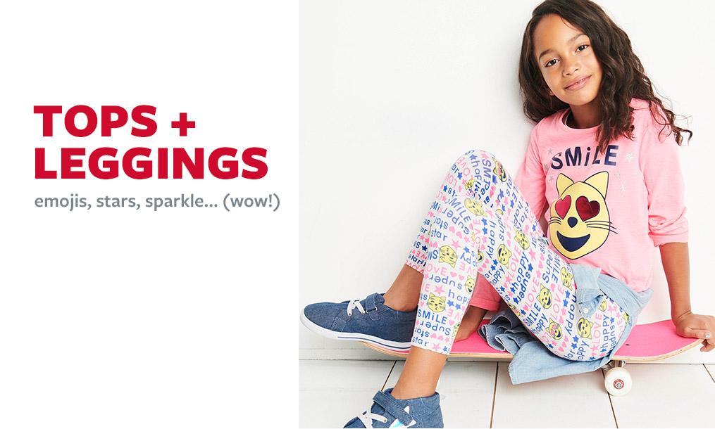 tops + leggings   emojis, stars, sparkle...(wow!)