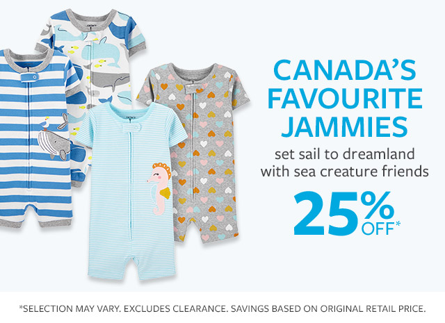 canads's favourite jammies | set sail to dreamland with sea creature friends | 25% off*