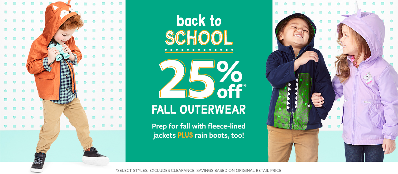 back to school 25% off fall outerwear