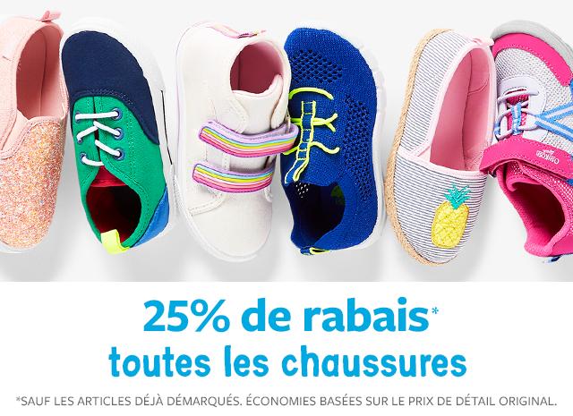 25% de rabais toutes les chaussures