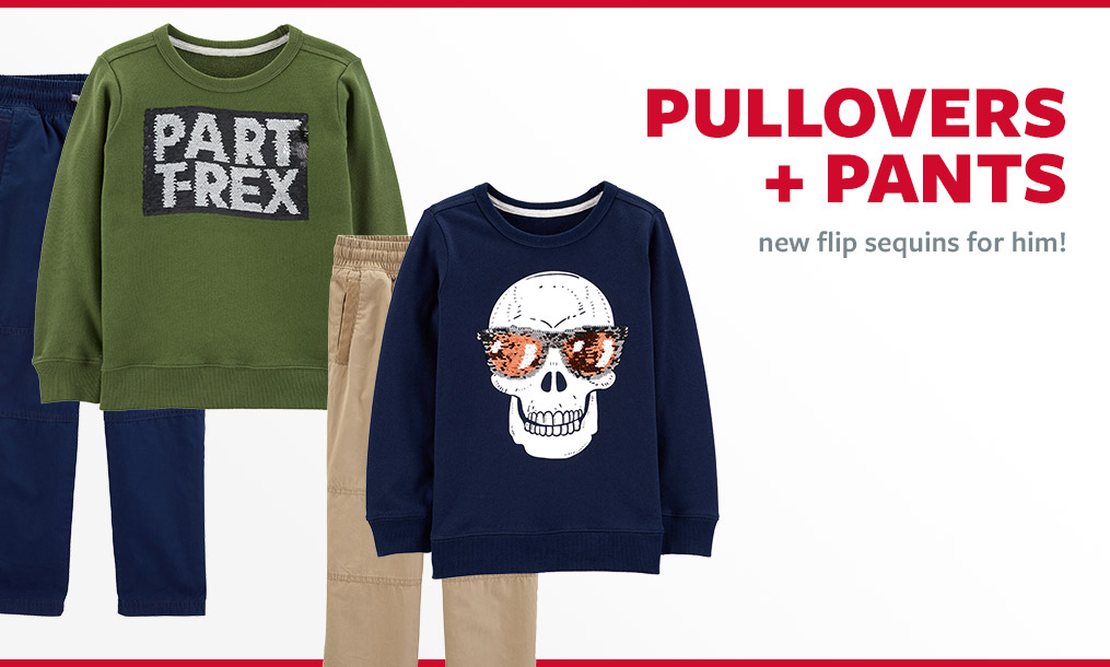 pullovers + pants | new flip sequins for him!