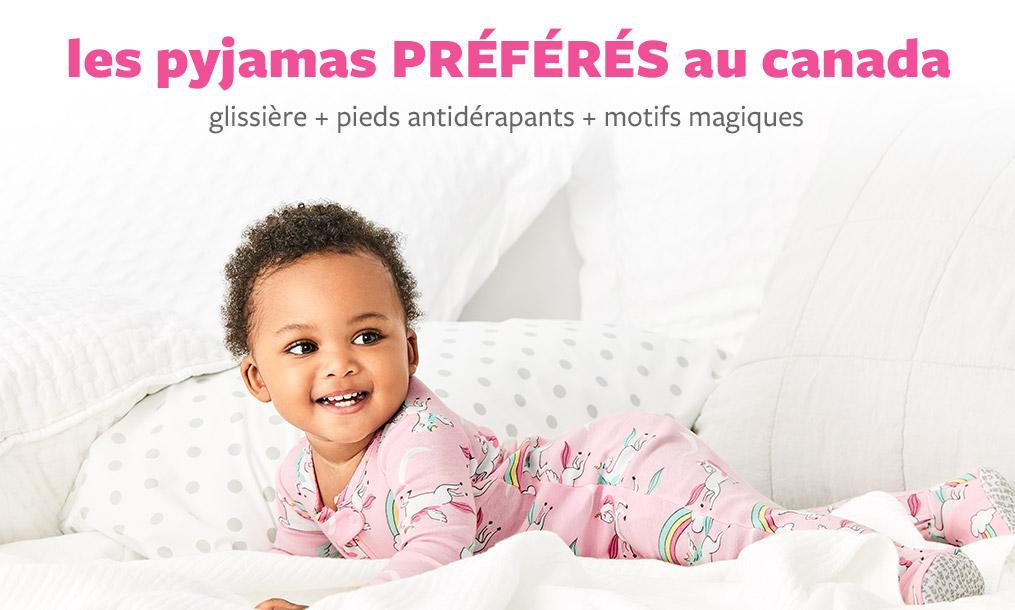 les pyjamas Préférés au Canada   glissère + pied antidérapants + motifs magiques