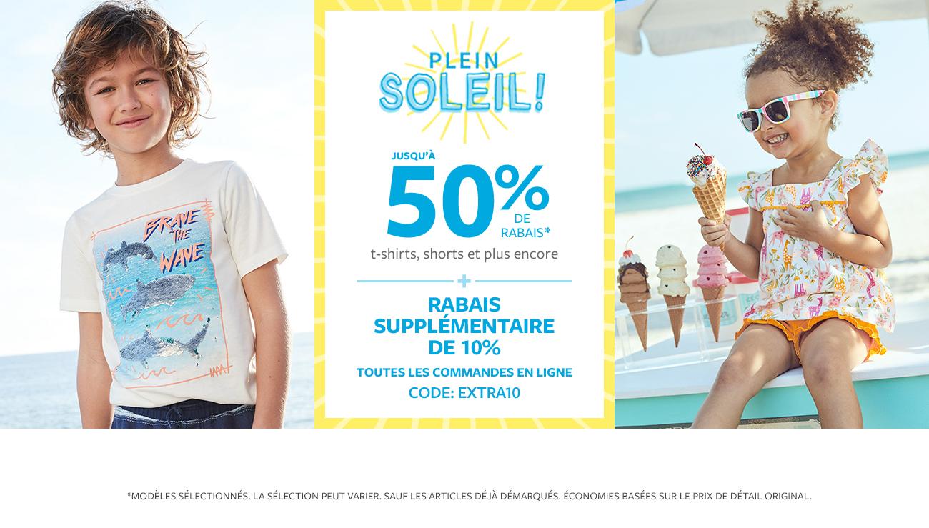 Plein soleil! | jusqu'à 50% de rabais* | t-shirts, shorts et plus encore + rabais supplémentaire de 10% toutes les commandes en ligne code: extra10