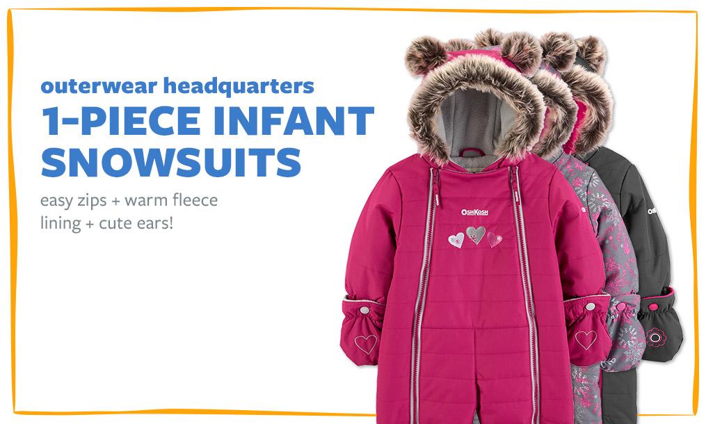 outerwear headquarters   1-PIECE INFANT SNOWSUITS   easy zips + warm fleece lining + cute ears