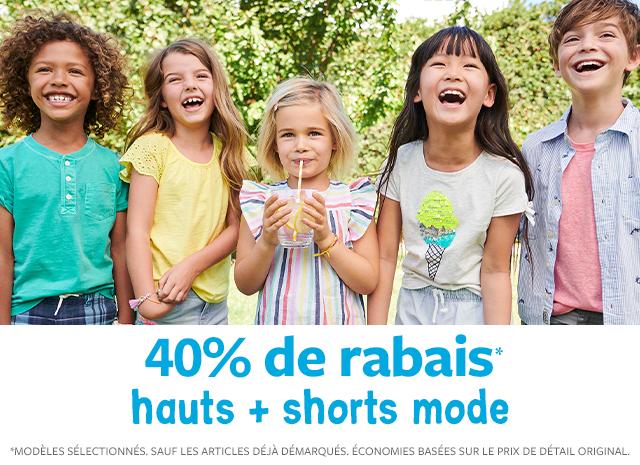 40% de rabais hauts + shorts mode