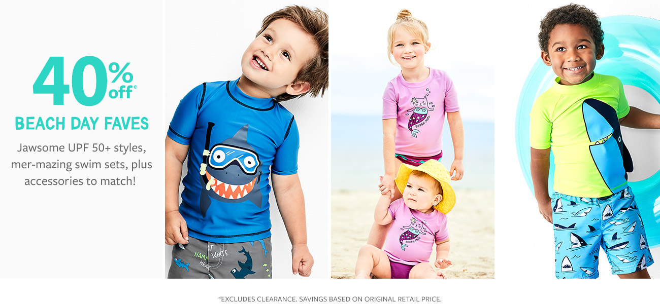 0a474fe34335 40% off beach day faves | jawsome upf 50+ styles, mer-mazing