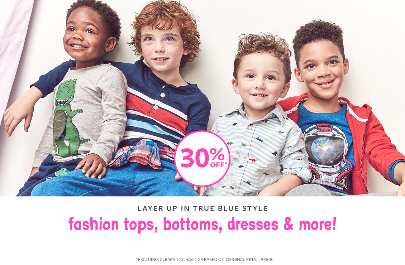 layer up in true blue style fashion tops, bottoms, dresses & more! 30% off
