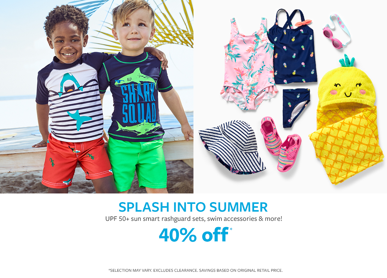 splash into summer | upf 50+ sun smart swimsuits, rashquard sets and more! 40% off*