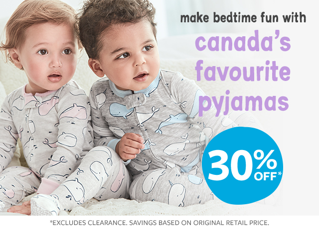 make bedtime fun with canada's favorite jammies |30% off