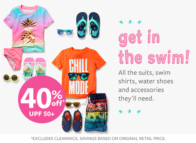 get in the swim! all the suits, swim shirts, water shoes and accessories they'll need.