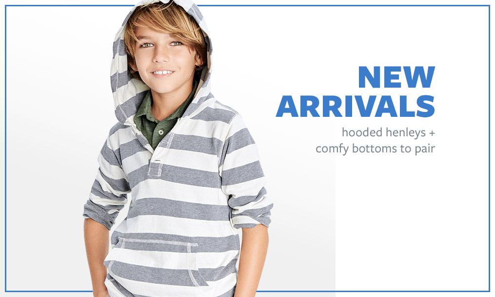 NEW ARRIVALS | hooded henleys + comfy bottoms to pair