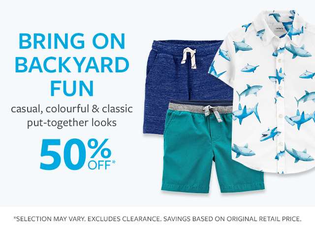Bring on backyard fun | casual, colorful & classic put-together looks | 50% off