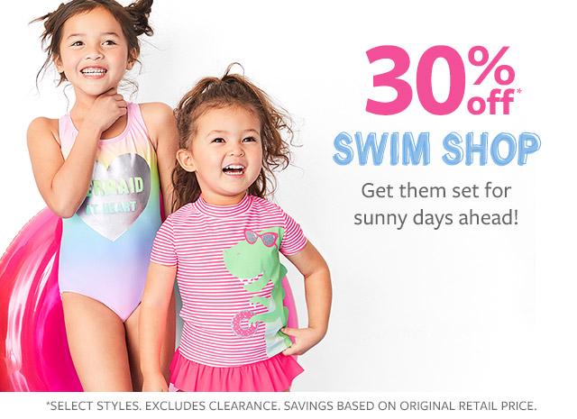30% off swim shop | get them set for sunny days ahead!