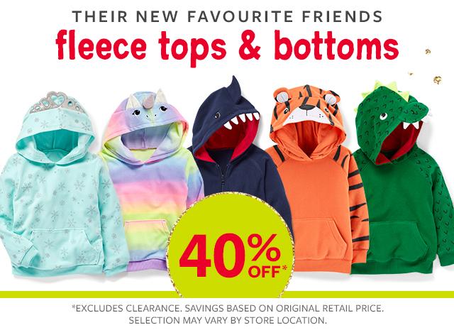 their new favourite friends fleece tops & bottoms 40% off