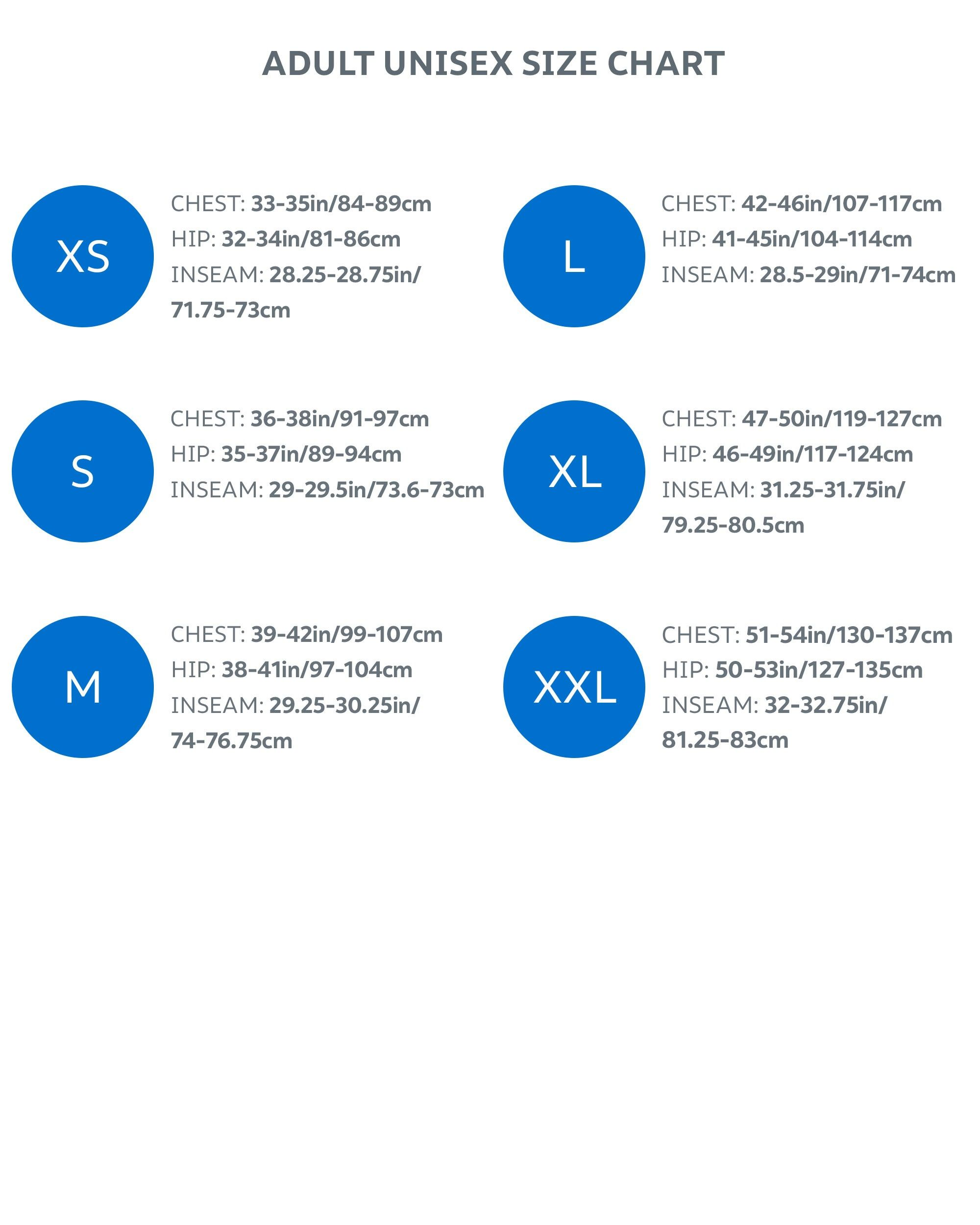 Adult size chart EN