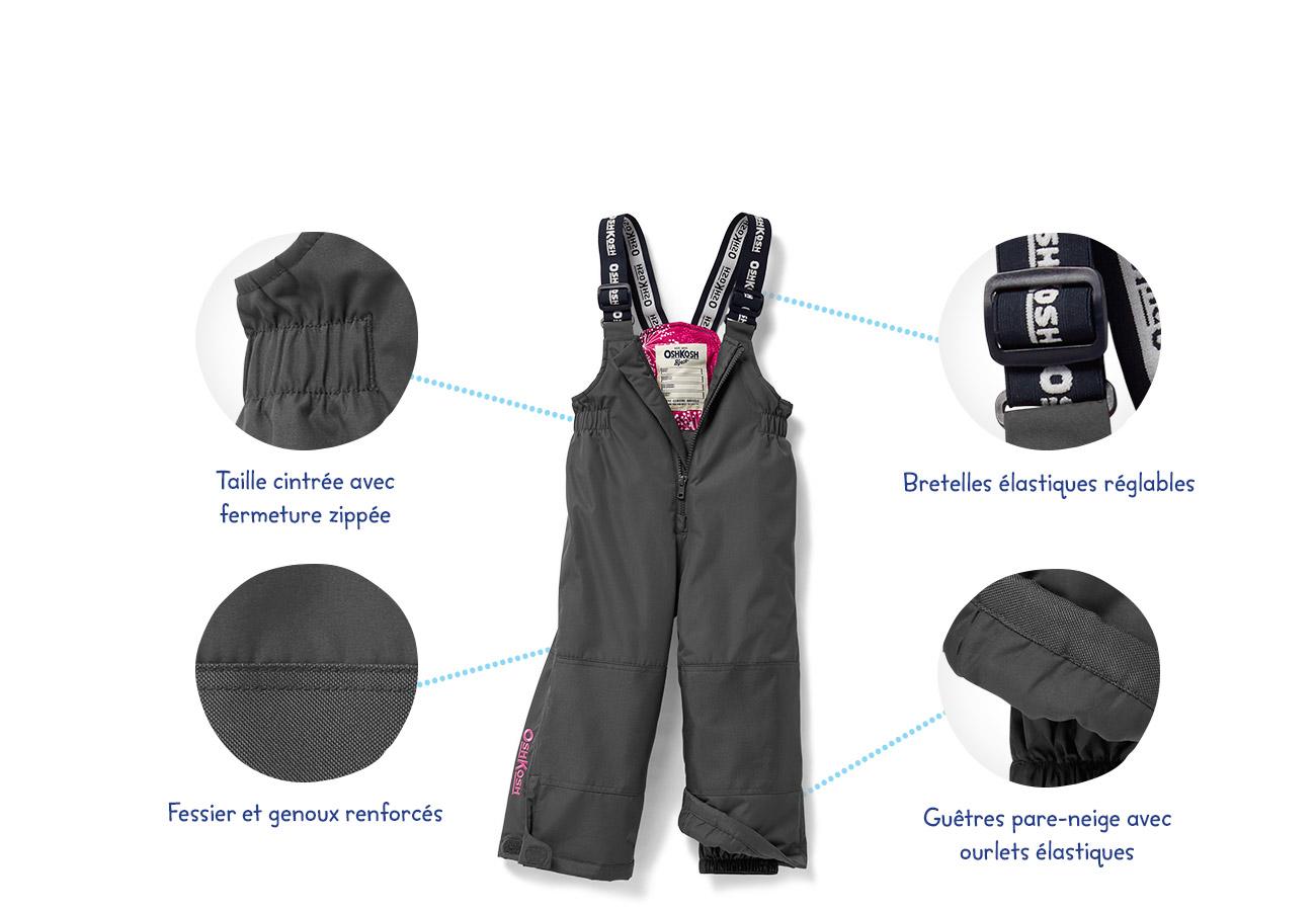 Taille cintrée avec fermeture zippée | Fessieret genoux renforcés | Bretelles élastiques réglables | Guêtres pare-neige avec ourlets élastiques