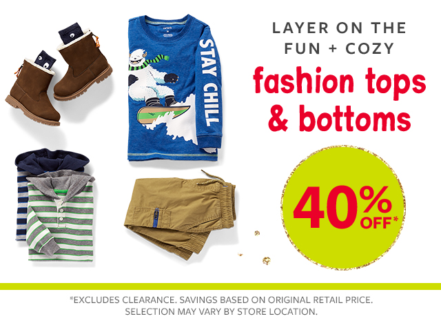 layer on the fun + cozy fashion tops & bottoms 40% off