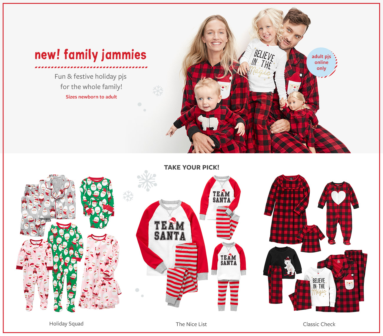 new family jammies | fun & festive holiday pjs for the whole family! Sizes newborn to adult | adult PJs online only | take your pick Holiday squad, the nice list, or classic check