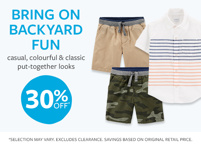 bring on backyard fun | casual, colourful & classic put-together looks | 30% off
