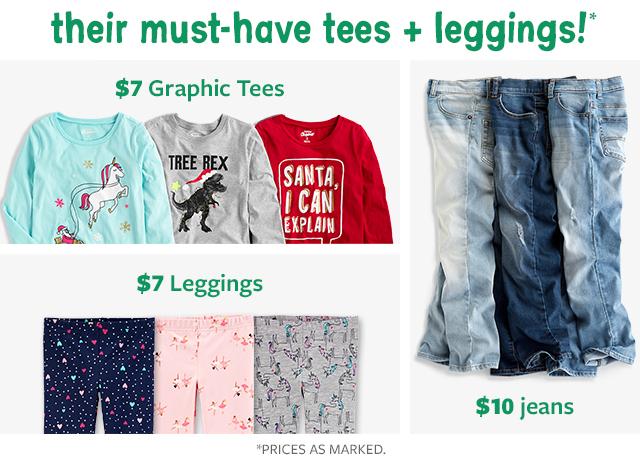 their must-haves tees + leggings!   $7 graphic tees   $7 leggings   $10 jeans