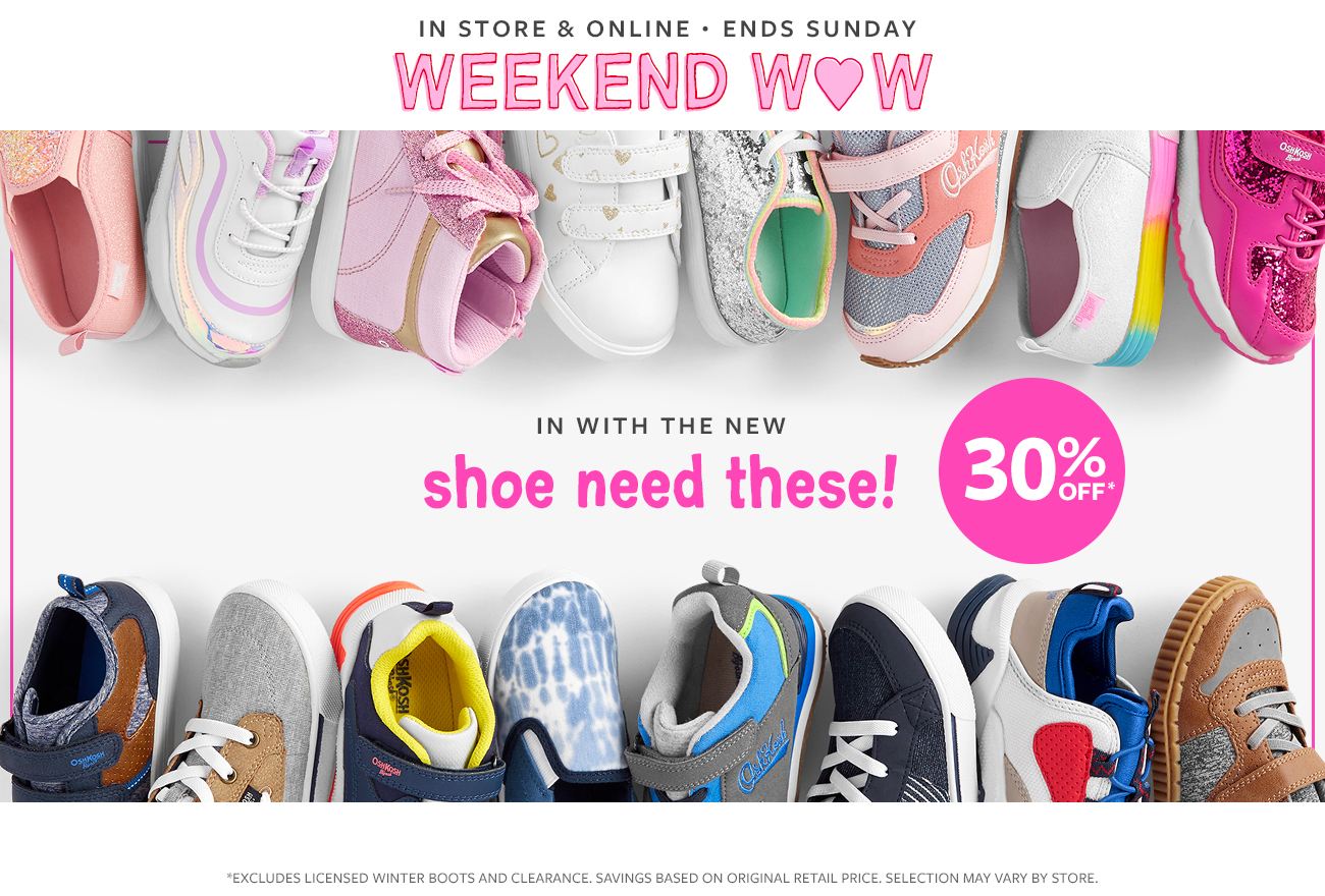in store & online ends sunday weekend wow   30% off   in with the new shoe need these!