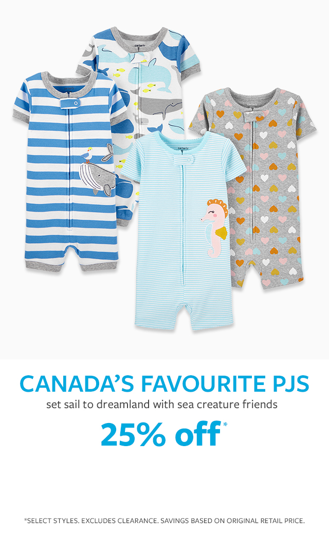 canads's favourite pjs | set sail to dreamland with sea creature friends | 25% off*