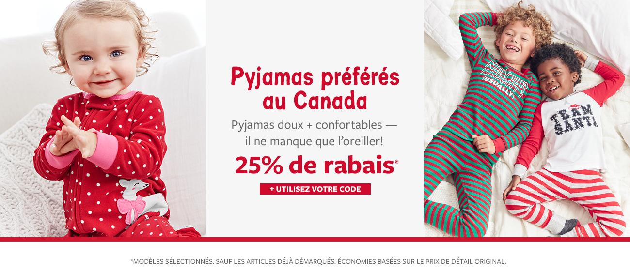25% de rabais pyjamas préférés au Canada + utilisez votre code