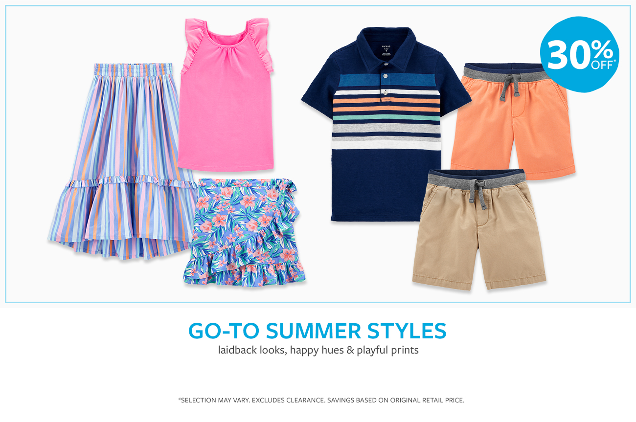 Go-to summer styles | laidback looks, happy hues & playful prints | 30% OFF