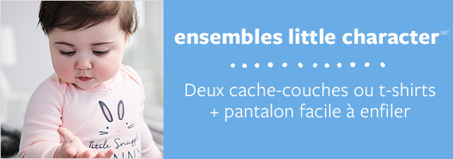 ensembles little character(MC) | Deux cache-couches ou t-shirts + pantalon facile à enfiler