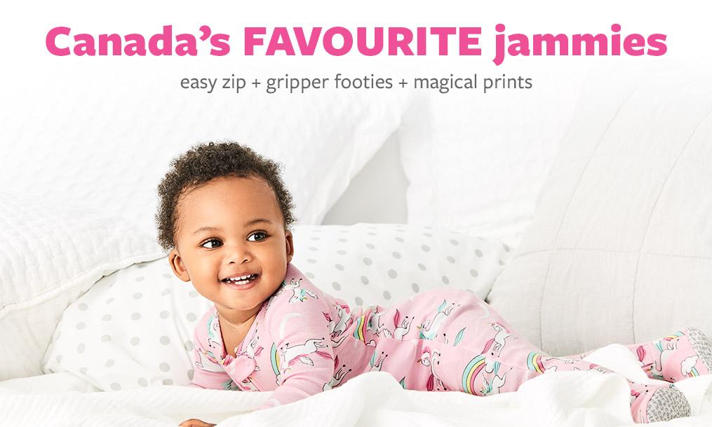 Canada's Favourite jammies | easy zip + gripper footies + magical prints