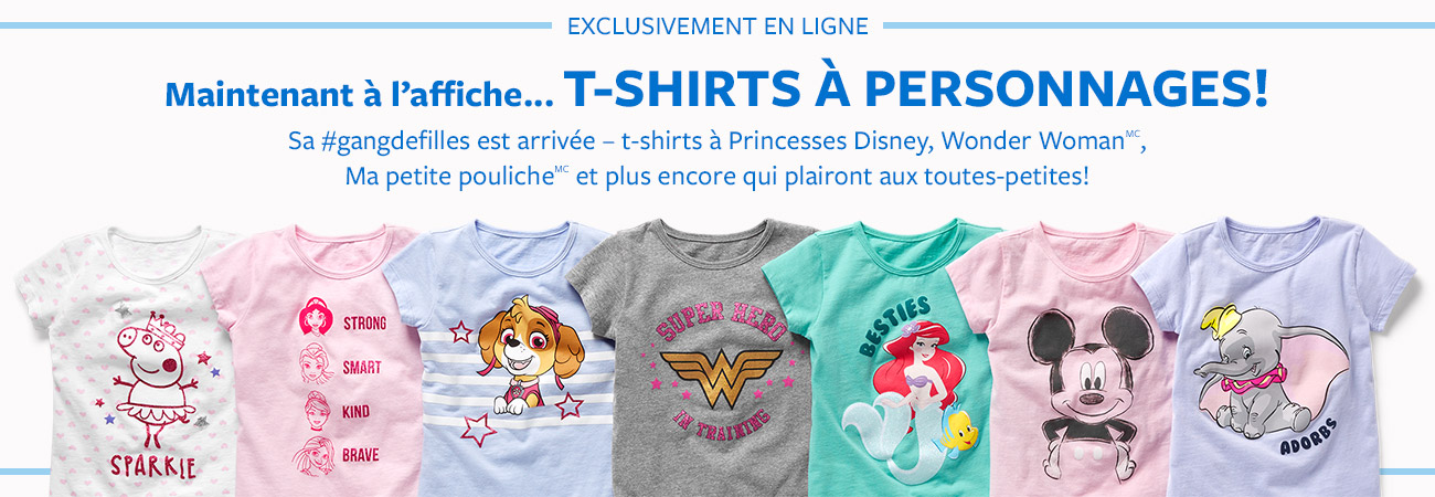 t-shirts à personnages!