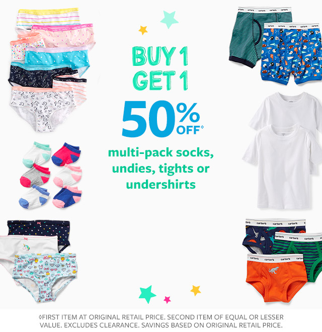 buy 1 get 1 50% off multi-pack socks, undies, tights or undershirts