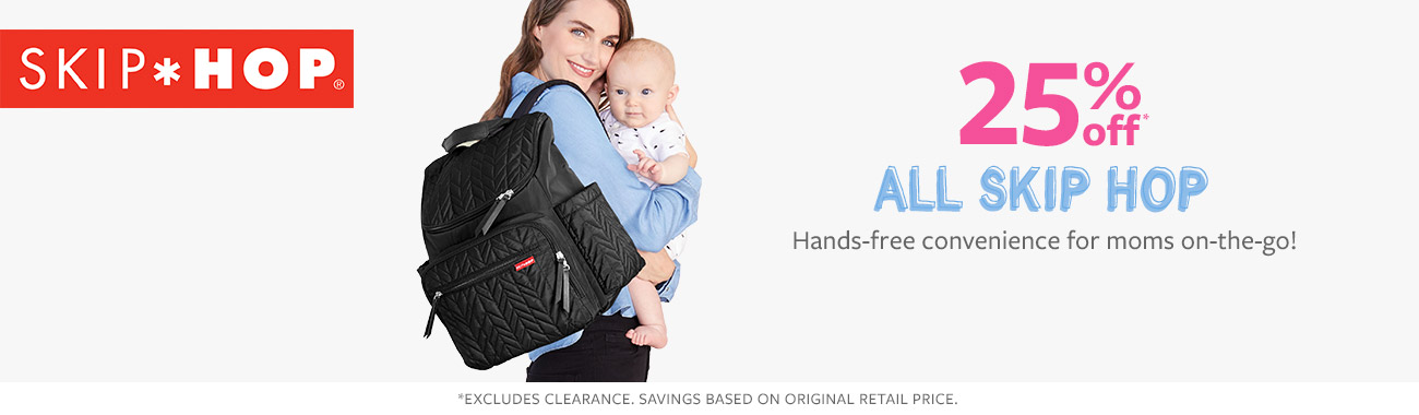 25% off all skip hop Hands-free convenience for moms on-the-go!