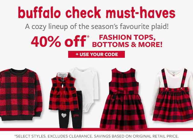 buffalo check must-haves | a cozy lineup of the seasons favourite plaid! | 40% off fashion tops, bottoms & More! | + use your code!