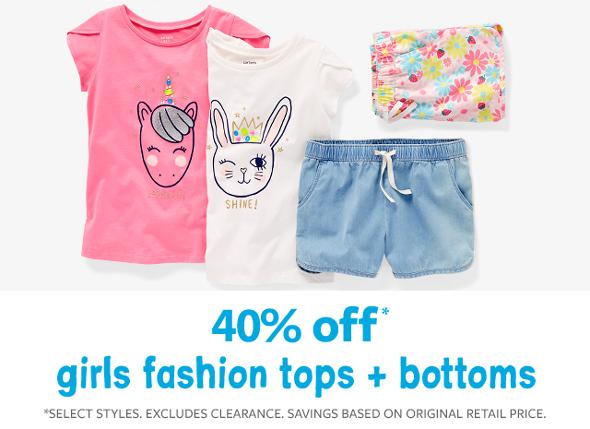 40% off girls fashion tops + bottoms