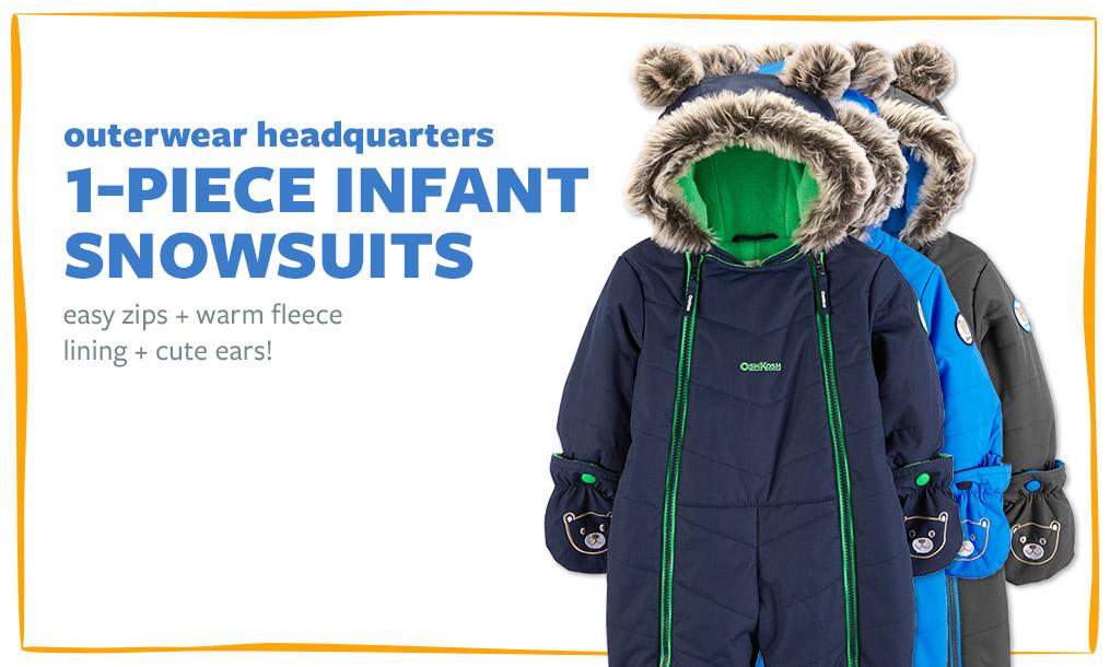 outerwear headquarters | 1-PIECE INFANT SNOWSUITS | easy zips + warm fleece lining + cute ears!