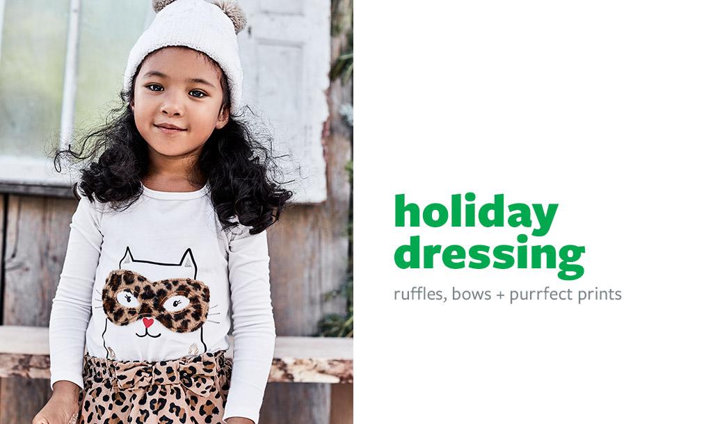 holiday dressing | ruffles, bows + purrfect prints