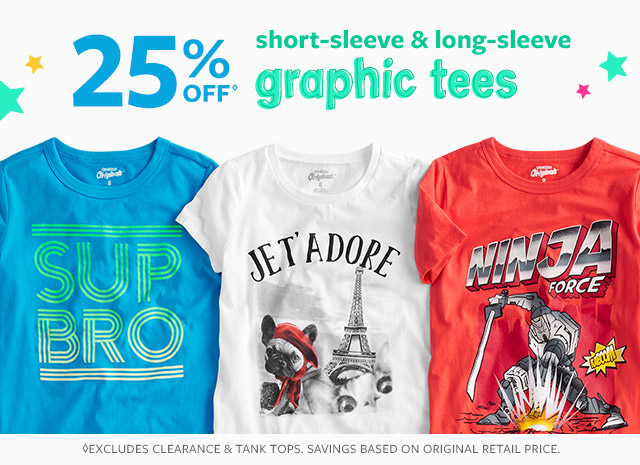 25% off short sleeve & long sleeve graphic tees
