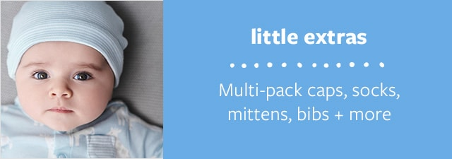 little extras | Multi-pack caps, socks, mittens, bibs + more