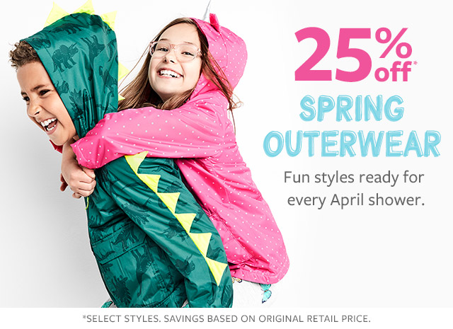 25% off spring outerwear | fun styles ready for every april shower